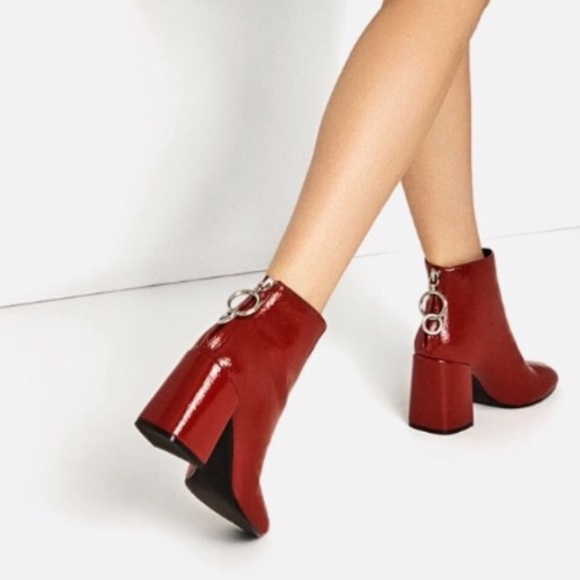228d4afd311f9 Zara Red patent booties size 39. M_5a557ac58df4700c090778f1